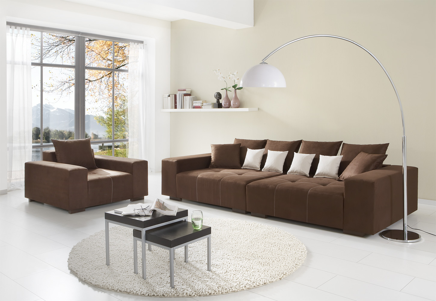 Gorgeous Interior Ideas With Big Sofas : Beautiful Brown Color Modern Minimalist Style Big Sofas