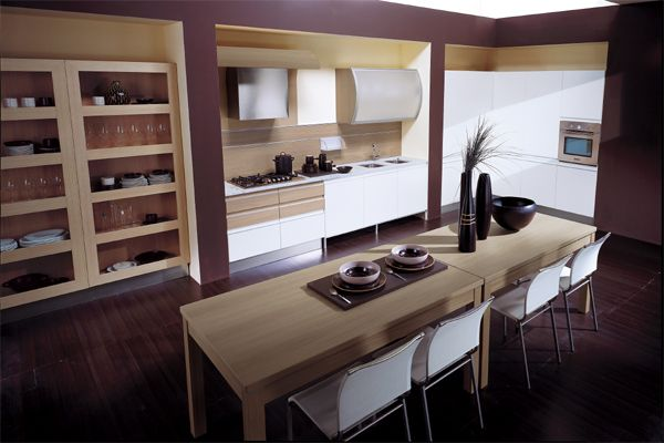 Wonderful Modern Kitchen Interior Designs In Neutral Shades : Beautiful Contemporary Kitchen With A Vivid Violet Tinge