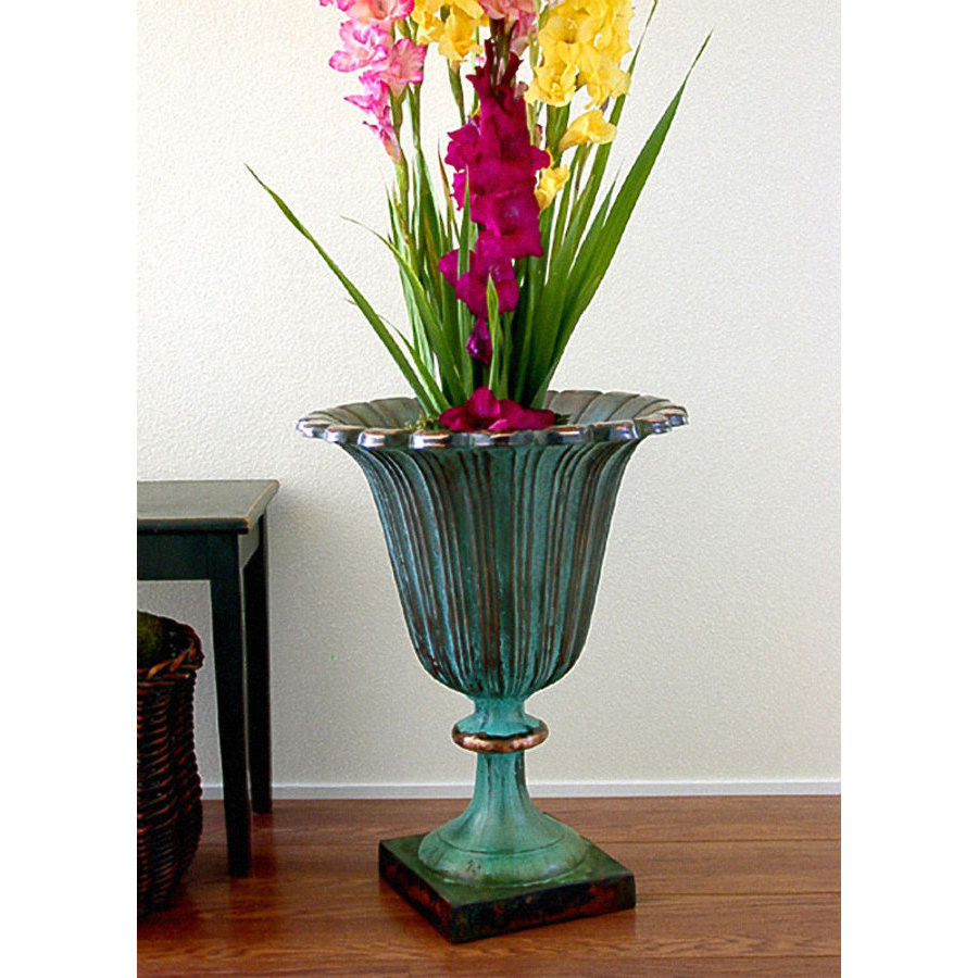 Colorful Verdigris Planter In Unique Design: Beautiful Flowers Antique Verdigris Planter Design On Wooden Floor