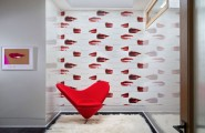 Lively Popular Arts Beautifying Modern Interior Look : Beautiful Girl Room Decor With Lips Wallpaper And Red Accent Chair