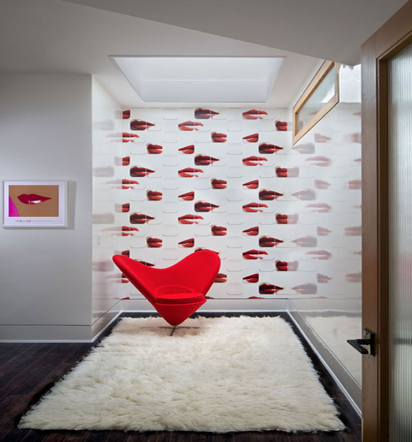 Lively Popular Arts Beautifying Modern Interior Look: Beautiful Girl Room Decor With Lips Wallpaper And Red Accent Chair