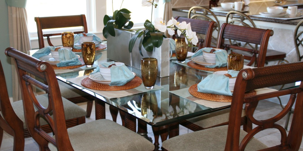 UP Dining Table In Your House : Beautiful Glass Top UP Dining Table Upholstered Chairs Flowers Ornament