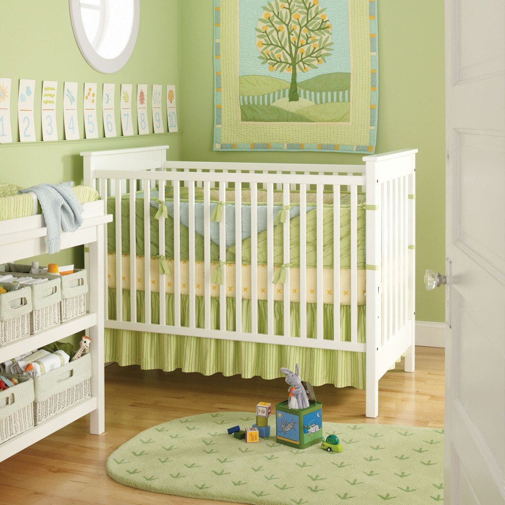 Beautiful Baby Room Ideas Make Comfortable Welcoming: Beautiful Green Baby Room Ideas Round Mirror Laminate Floor