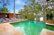 Rustic Modern Home Design In The Best Performance : Beautiful Infinity Pool Design Overlooking The Great Lake