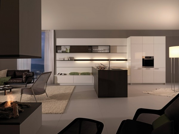 Striking Kitchen Design As The House Center Of Attention: Beautiful Kitchen Cabinetry Lighting White Kitchen Cupboard Black Kitchen Island