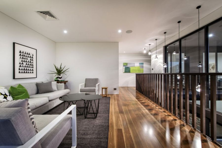 Amazing Minimalist Residence With A Sizzling Courtyard: Beautiful Living Room Of The Perth Home Interior With Modern Design Ideas