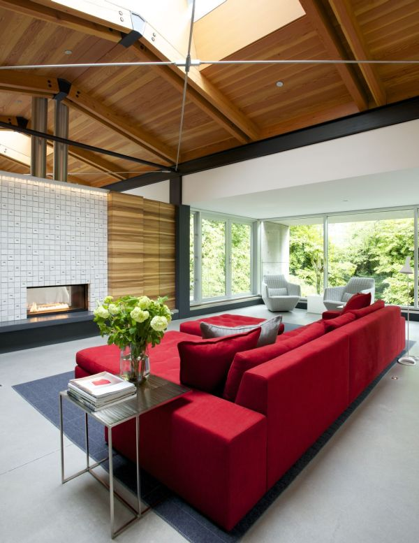 Modern Natural House With The Natural Color: Beautiful Modern Fireplace Adds Warmth To The Setting With Red Sofa Furniture