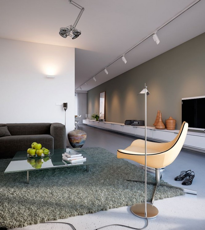 Beautiful Bright House Design Idea: Beautiful Modern Furniture Light Bright Beautiful Home Grey Rug