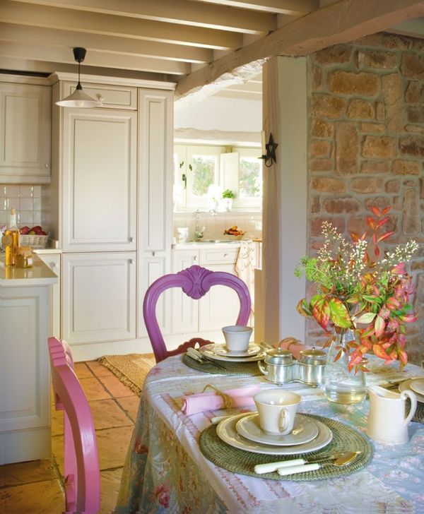 Chic Fairy Tale Home In Spain Evoke The Old Childish Memories: Beautiful Purple And Pink Chairs At The Dining Table Furniture Design