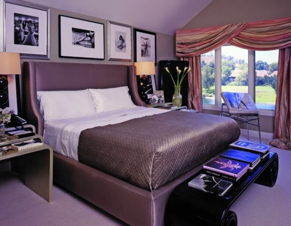Exclusive Stylish Hotel Interior Simple And Luxurious Design: Beautiful Sublime Flower Arrangement Adds Freshness To The Purple Bedroom