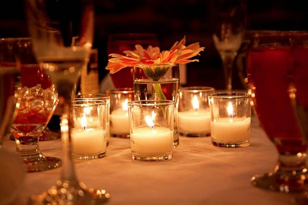 Eye Catching Vase Design In Various Styles: Beautiful Table Setting With Candles In Small Vases And White Tablecloth ~ stevenwardhair.com Design & Decorating Inspiration