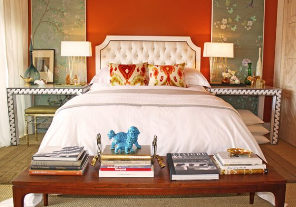 Amazing Headboard Designs For Contemporary Bedroom : Beautiful Tufted Headboard Stands Out In This Eclectic Bedroom Adored By Orange Hues