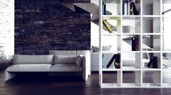 Mesmerizing Loft Decor With Dazzling Natural Look: Beautiful Urban Loft Interior Bookcase Room Divider Sofa Bench