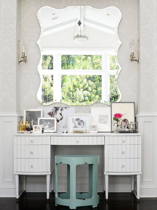 Attractive Mirror Wall Decor Creating The Elegant Interior: Beautiful Wall Mirror Design Over The White Dresser Table