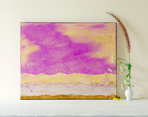 Mesmerizing Wall Decor: Dining Room Attraction : Beautiful Wall Painting And Vase Radiant Orchid Watercolor Painting