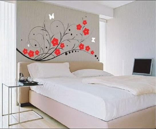 Make Large Your Room With Fresh Paint Colors For Small Bedrooms : Beautiful White Paint Colors For Bedroom With Wall Decal
