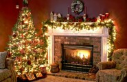 Amazing Fireplace Mantels For Your Best Christmas Ever : Beautifully Illuminated Christmas Tree Next To The Classic Fireplace