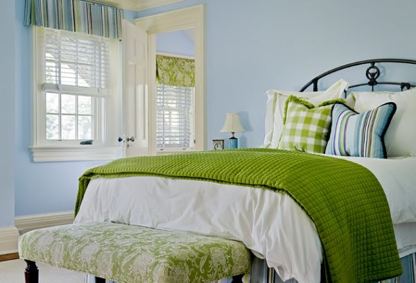 Various Fascinating Bedroom Benches: 35 Design Ideas : Bedroom In Green Sports A Bench With Fabric Similar To One Use For A Roman Shade In The Room