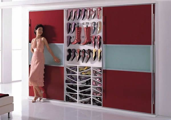 Fashionable Cabinet Designs For Your Shoe Collection: Bedroom Wardrobe Shoe Cabinet
