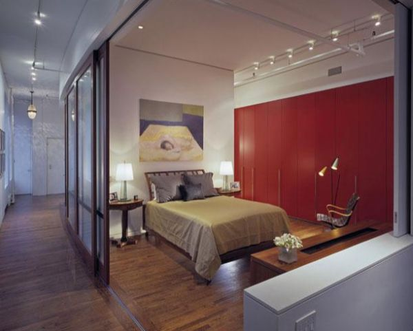 Stylish Sliding Glass Door Designs: 40 Modern Images : Bedroom With Sliding Glass Doors Offers Privacy When Needed