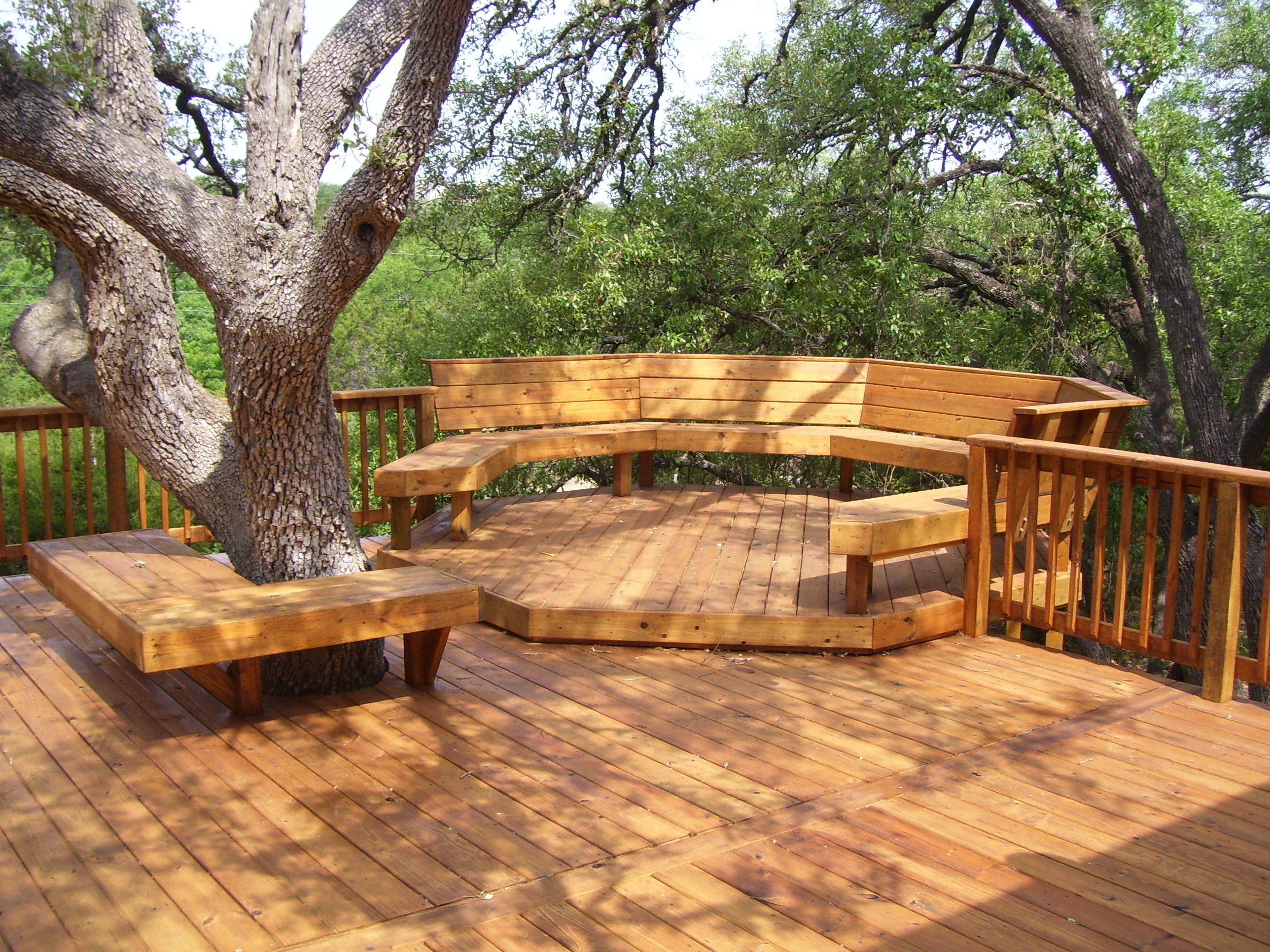Modern Outside Decks For Outdoor Lounge: Big Leavy Trees Round Bench Cool Outside Decks Ideas