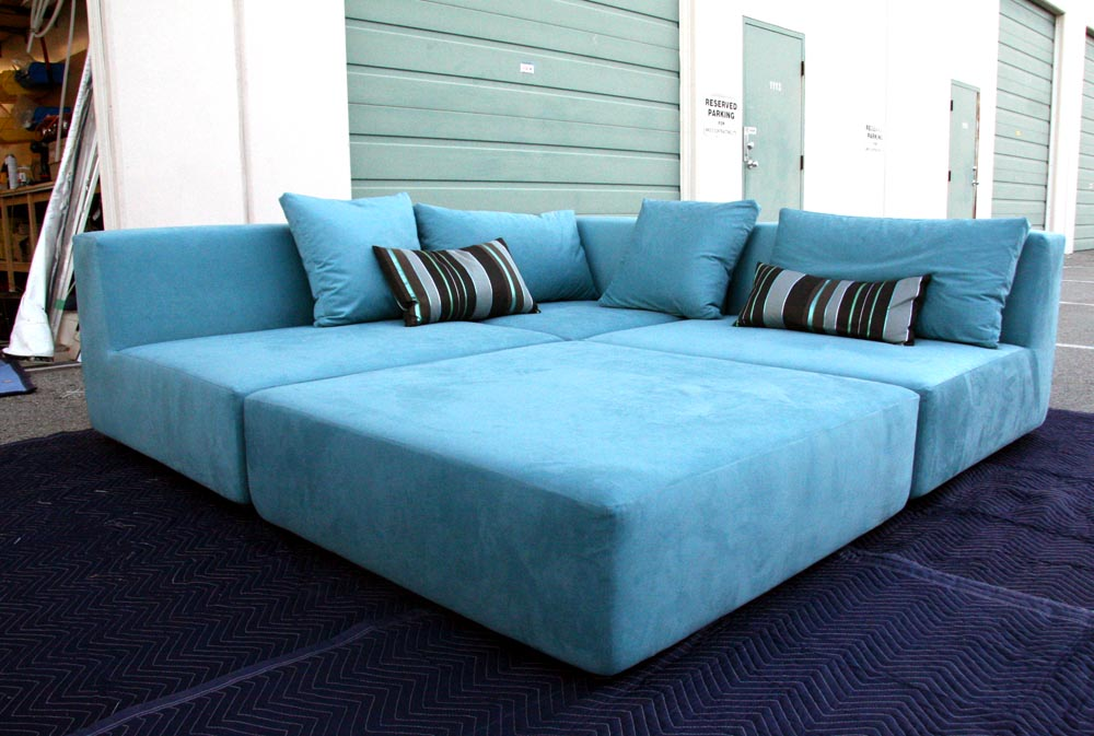 Blue Sofas: Unique And Enlightening Furniture: Big Sofas Blue Cover Strip Cushion Dark Blue Cushion