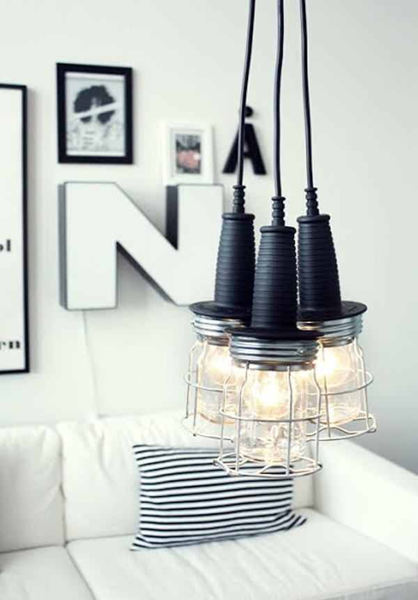 DIY Modern Lamp Design Comes With The Amazing Idea : Black And Silver Hanging Work Lamp