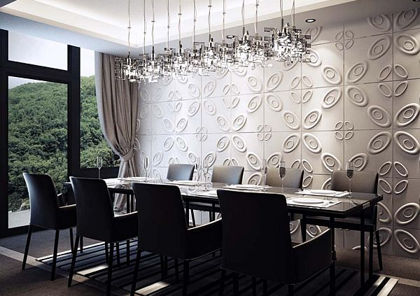 Open Plan Dining Room Provide Bright And Wide Visualization : Black And White Dining Room Wall Design