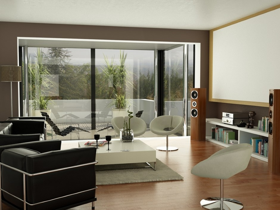 Casual Modern Living Rooms Featuring Minimalist Furniture: Black Brown White Living Room Projector Screen1