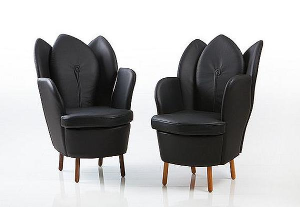 Astonishing Contemporary Chair Resembling The Blooming Flower: Black Chair And Black Sofa