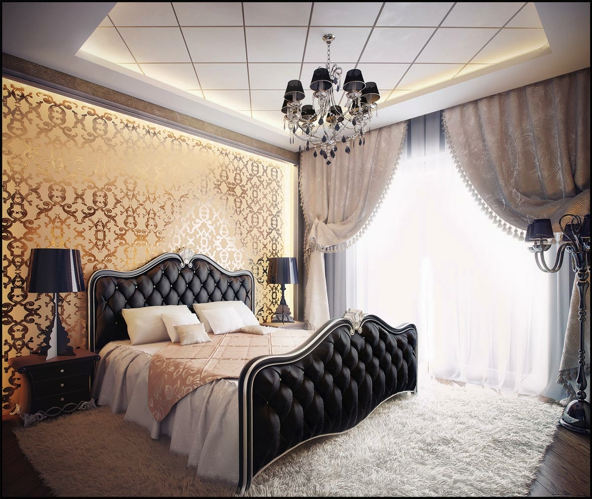 Traditional Elegant Bedroom: Classic And Dramatic: Black Gold Bedroom Design