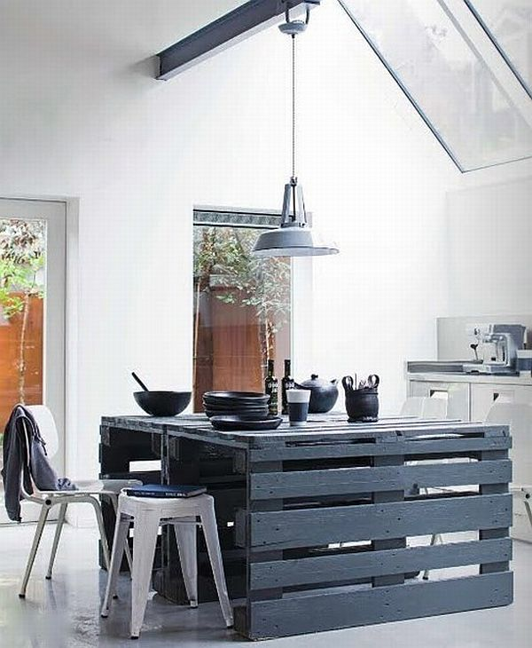 Unique Furniture Made From Pallets For Different Sensation: Black Kitchen Island Made From Pallets