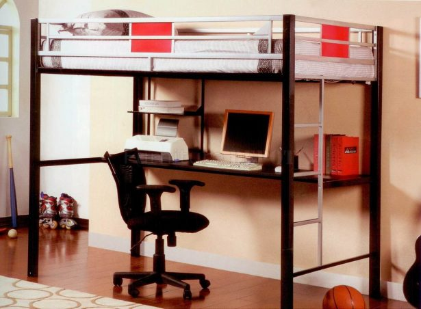 Colorful Loft Beds With Desk As An Enhancing Part Of A Small Room: Black Metal Base Modern Loft Bed With Desk Study Chair ~ stevenwardhair.com Bedroom Design Inspiration