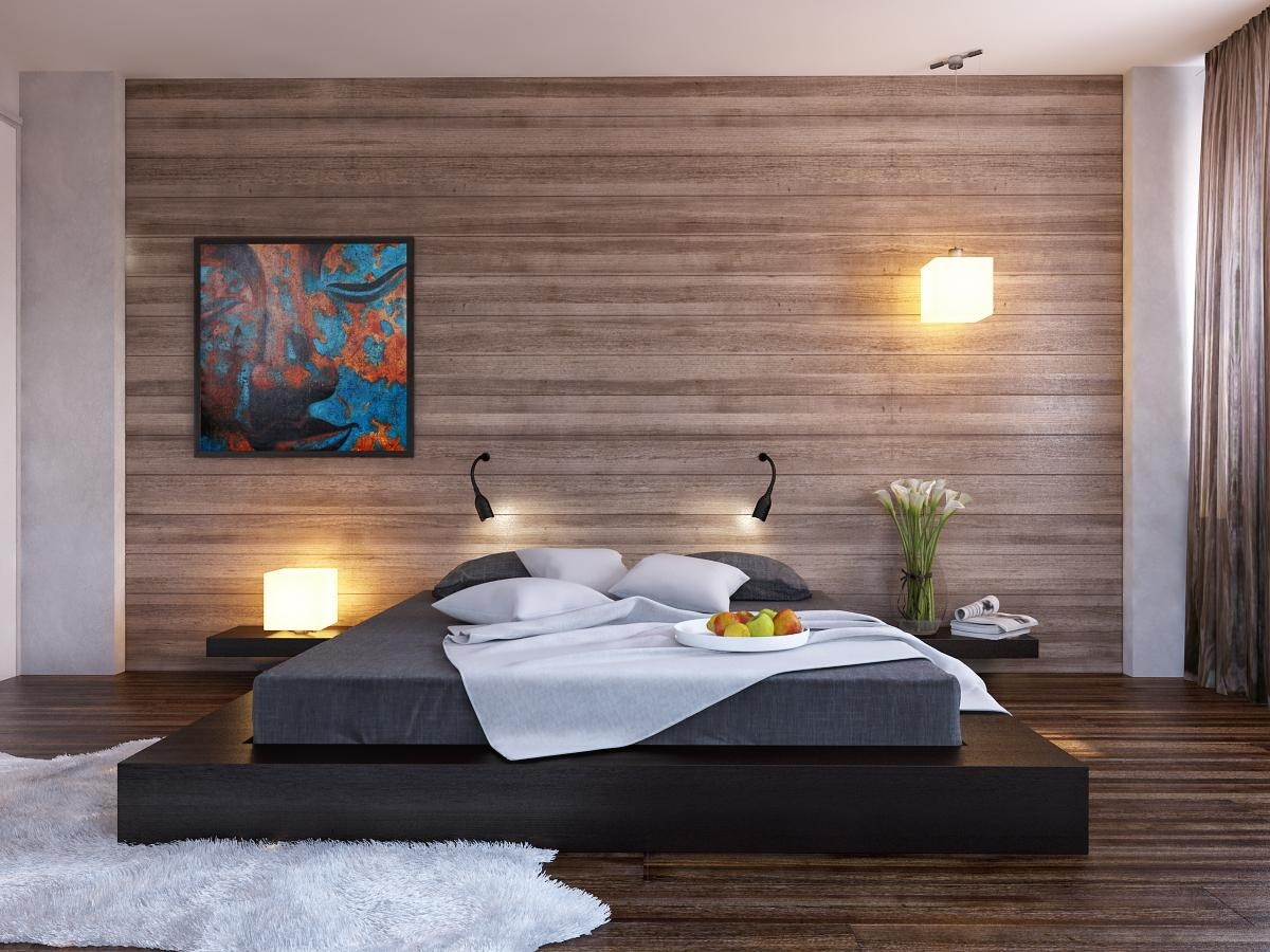 Modern Bedroom Offers You Simplicity And Style: Black Platform Bed Wood Clad Bedroom Wall