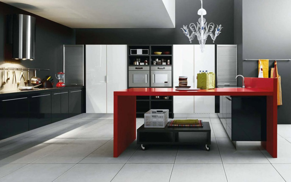 Contemporary Kitchens With Exceptional Ideas: Black Red White Modern Kitchen