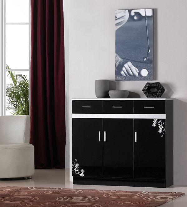 Fashionable Cabinet Designs For Your Shoe Collection: Black Shoe Cabinet Design Idea