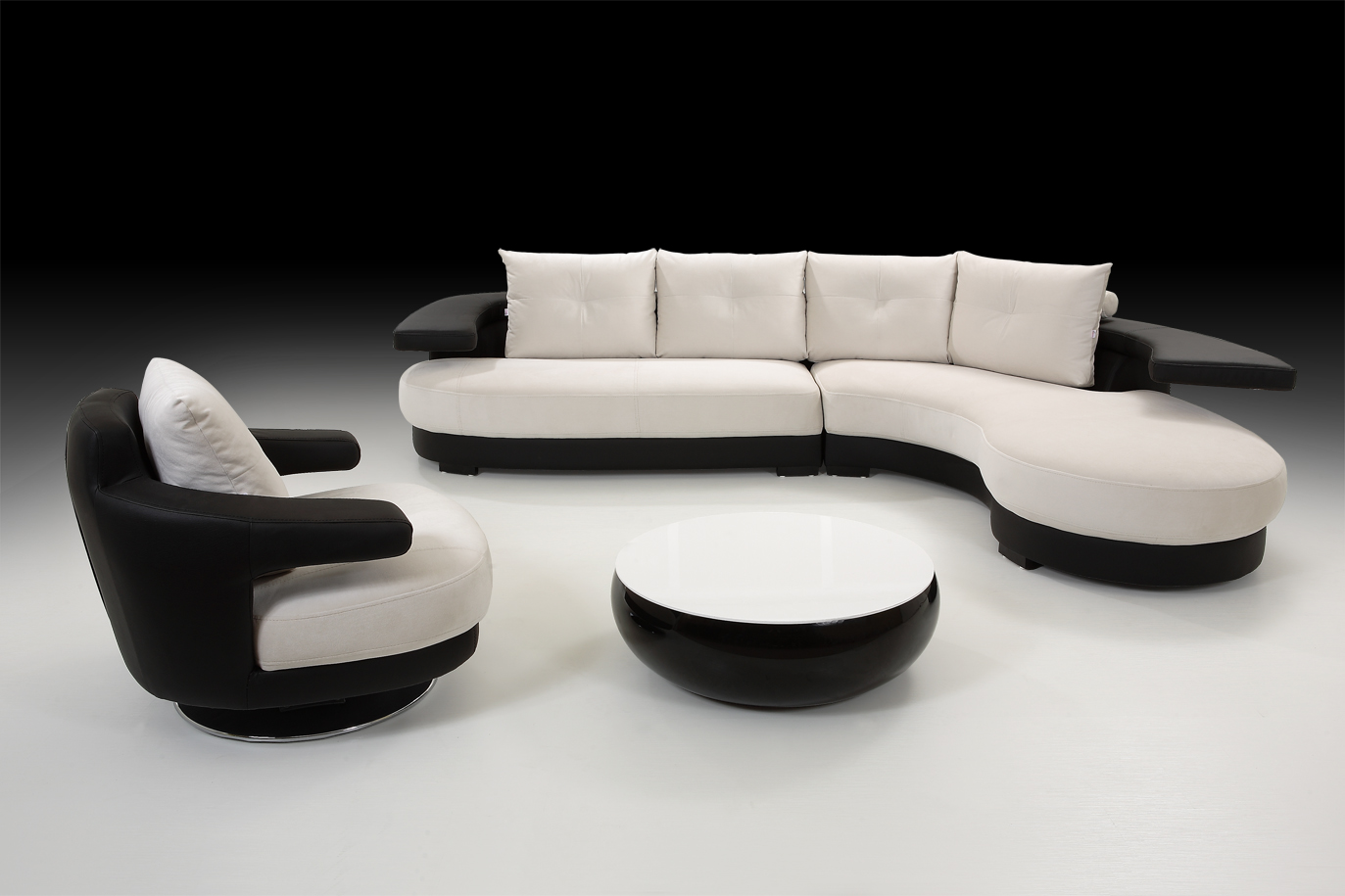White Sofas With Unique Ambiance : Black White Corner Sofa With Armchair And Stool