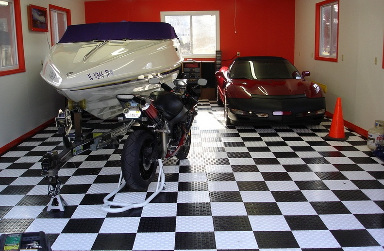 Best Garage Colors Design For Rustic Home Living : Black White Garage Floor Tile Red Accent Garage Colors Design