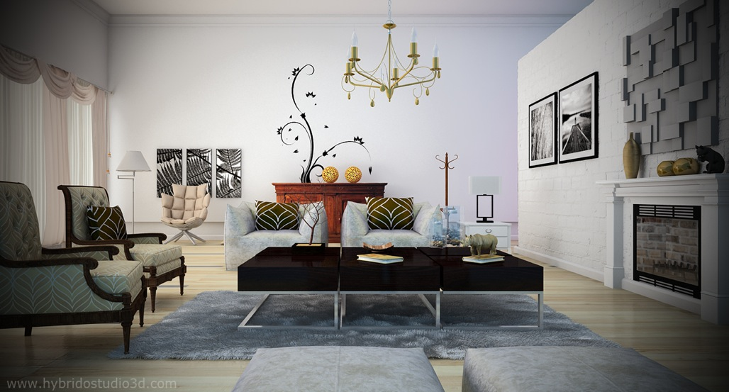Exclusive Stunning White Living Rooms Ideas : Black White Living Room Yellow Chandelier