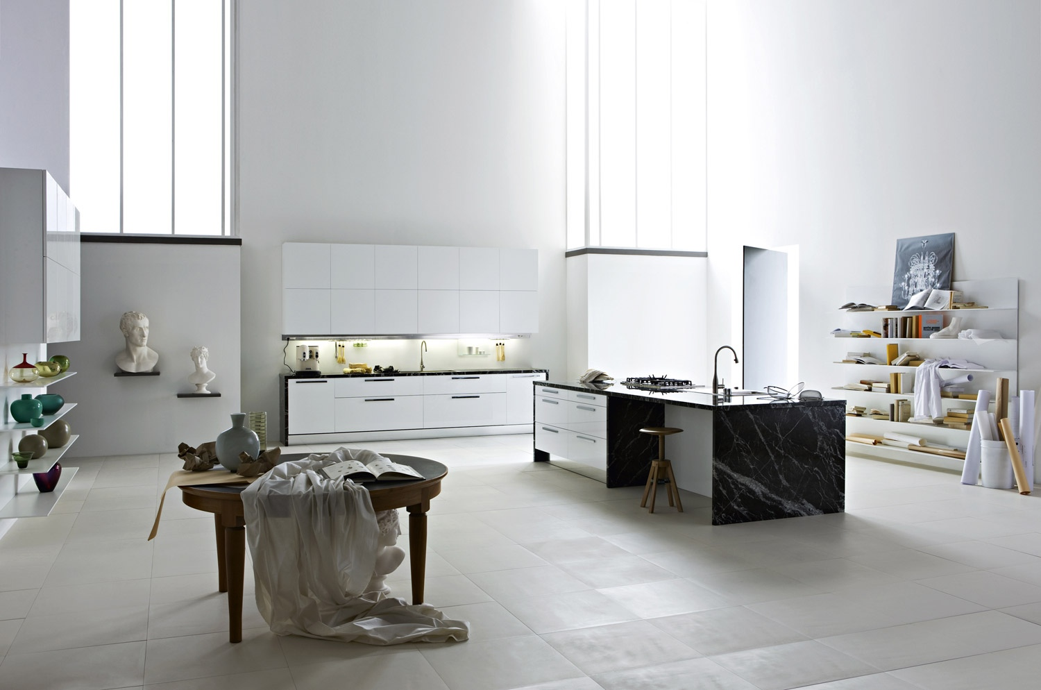 Smart Kitchen Designs With Personality Comes With Stunning Idea: Black White Open Shelves Kitchen