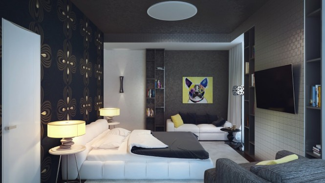 Attention Grabbing Bedroom Walls To Make Your Room Marvelous: Black White Yellow Bedroom