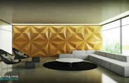 Casual Modern Living Rooms Featuring Minimalist Furniture : Black Yellow White Living Room Textured Wall1