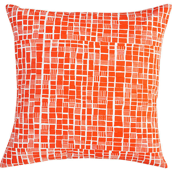 Fresh Throw Pillows For Your Powerful Spring : Block Print Pillow In Bright Orange