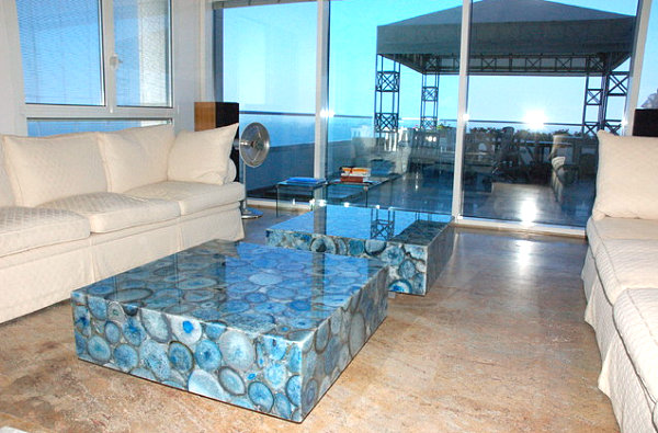 Breathtaking Natural Interior: Mineral Stone Material For Interiors: Blue Agate Coffee Table In A Modern Space At Modern Beach Style Home
