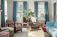 Lively Curtain Designs For Windows With Astounding Color Scheme : Blue Scheme Curtain Design Ideas