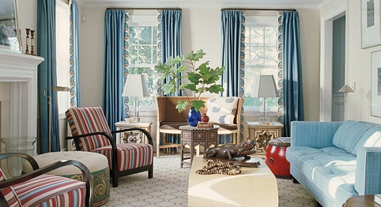 Lively Curtain Designs For Windows With Astounding Color Scheme: Blue Scheme Curtain Design Ideas
