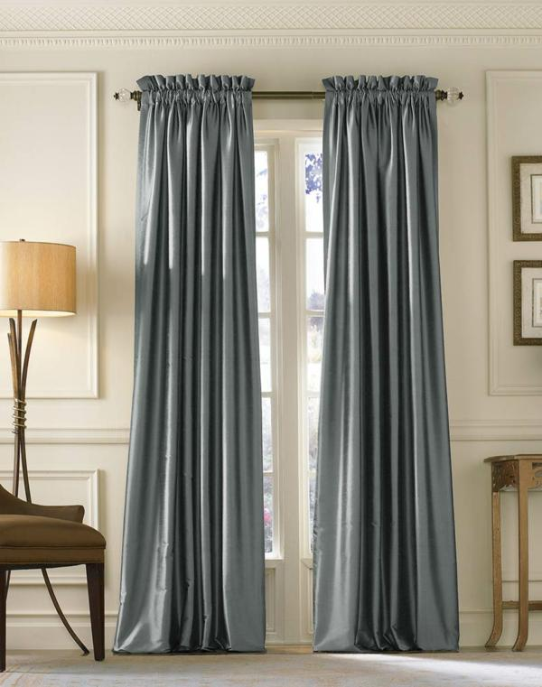 Attract Your Interior With Modern Curtain Panels: Blue Silk Long Curtains