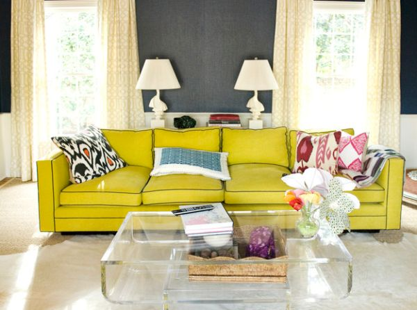 Pillow Scheme Idea To Beautify Your Space Design : Bold Yellow Couch Adds A Hint Of Retro