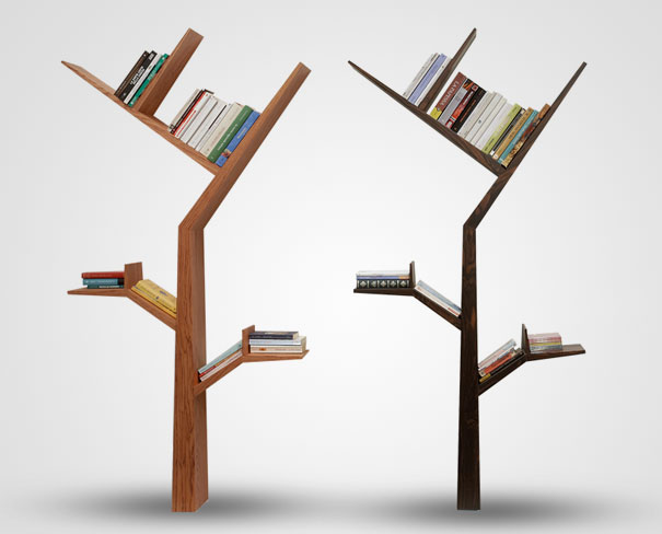 Bookshelf Design For Modern Interior Design : Booktree Bookshelves Brown Color Simple Design Thin Decoration