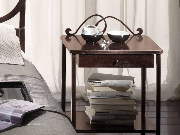 Elegant Wrought Iron Bed To Make Your Bed Looks More Beautiful: Bradley Wrought Iron And Wood Bedside Table In Brown ~ stevenwardhair.com Design & Decorating Inspiration